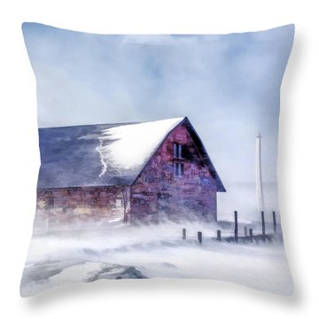 Throw Pillow featuring the painting Anderson Dock Winter Storm by Christopher Arndt