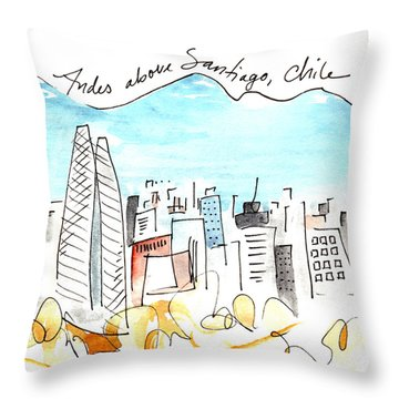 Andes Above Santiago Throw Pillow