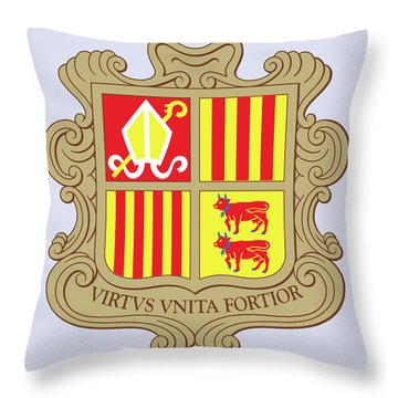 Throw Pillow featuring the drawing Andorra Coat Of Arms by Movie Poster Prints