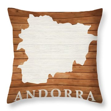 Andorra Rustic Map On Wood Throw Pillow