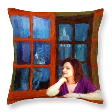 Andrea And The Cat Throw Pillow
