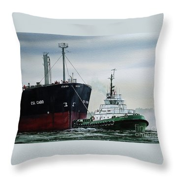 Andrew Foss Ship Assist Throw Pillow by James Williamson