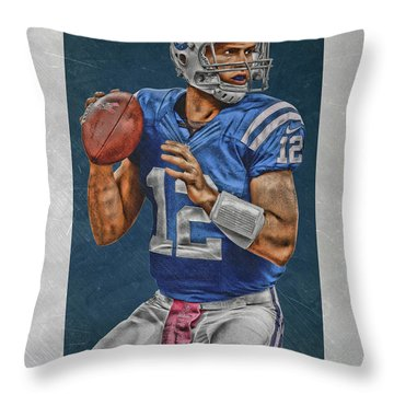 Andrew Luck Indianapolis Colts Art Throw Pillow