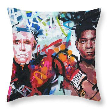 Andy Warhol And Jean-michel Basquiat Throw Pillow