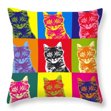 Andy Warhol Cat Throw Pillow