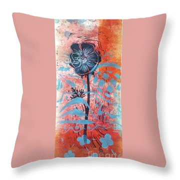Anemone In Orange And Blue Throw Pillow by Cynthia Lagoudakis
