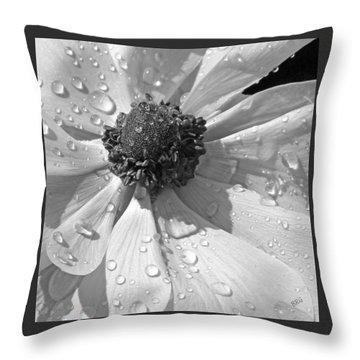 Anemone Poppy In Black And White Throw Pillow by Ben and Raisa Gertsberg
