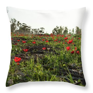 Anemones Forest Throw Pillow by Yoel Koskas