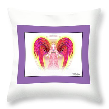 Throw Pillow featuring the digital art Angel #199 by Barbara Tristan