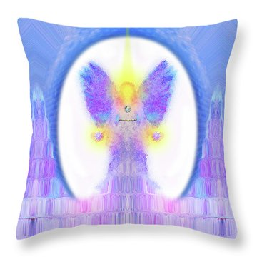 Throw Pillow featuring the digital art Angel #200 by Barbara Tristan