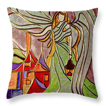 Throw Pillow featuring the painting Angel  by AmaS Art