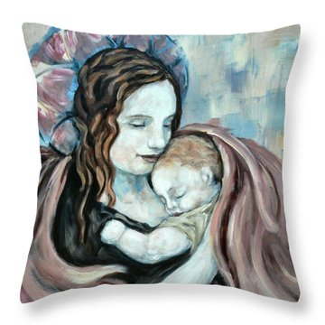 Angel And Baby No. 5 Throw Pillow by Carrie Joy Byrnes