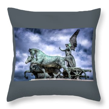 Throw Pillow featuring the photograph Angel And Chariot With Horses by Sonny Marcyan