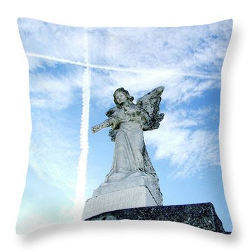 Angel And Crosses Throw Pillow
