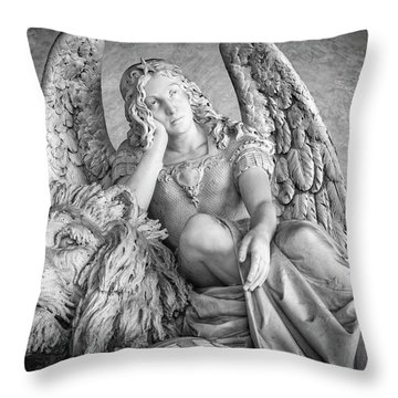 Throw Pillow featuring the photograph Angel And Lion by Sonny Marcyan