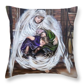 Flying Lamb Productions.        Angel And The Orphans Throw Pillow