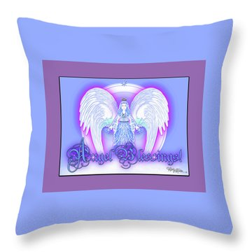 Throw Pillow featuring the digital art Angel Blessings #196 by Barbara Tristan