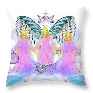 Throw Pillow featuring the digital art Angel Cousins #198 by Barbara Tristan