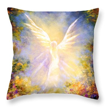 Angel Descending Throw Pillow by Marina Petro