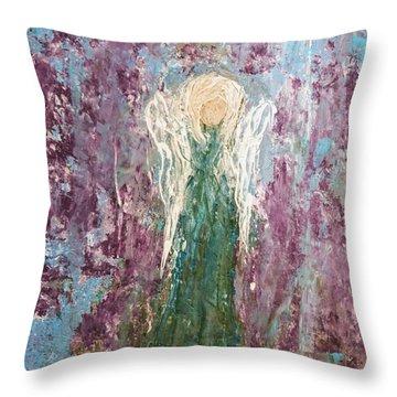 Angel Draped In Hydrangeas Throw Pillow
