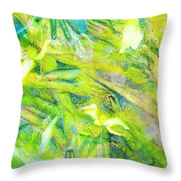 Throw Pillow featuring the painting Angel Forest by Kym Nicolas