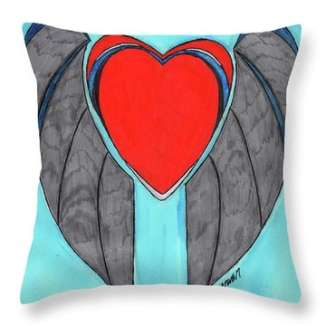 Angel Heart Throw Pillow by Ronald Woods
