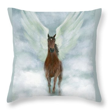 Angel Horse Running Free Across The Heavens Throw Pillow