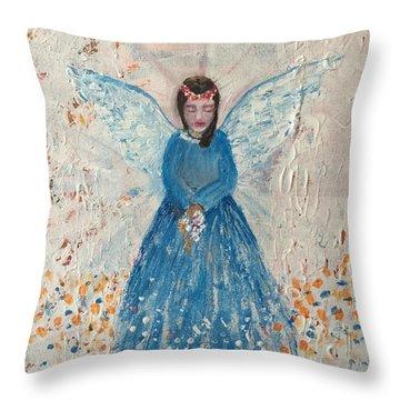 Angel In Blue Throw Pillow by Jun Jamosmos