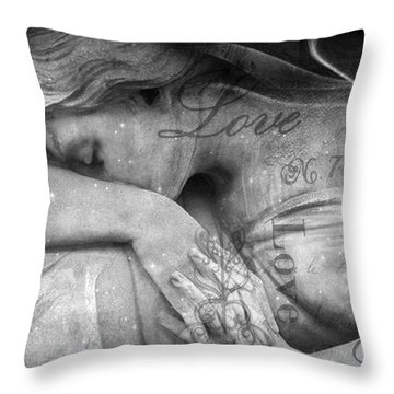 Throw Pillow featuring the photograph Angel In Mourning - Angel Crying Sad Cemetery Mourner At Grave - Angel Love Script Valentine Print by Kathy Fornal