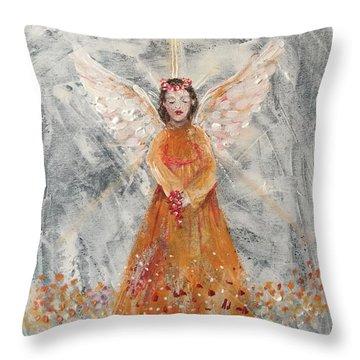 Angel In Orange Throw Pillow by Jun Jamosmos