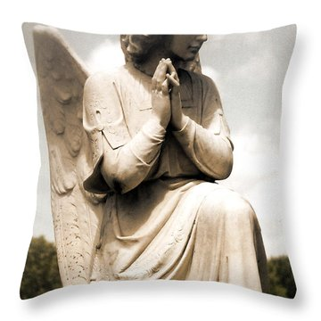 Angel In Prayer Kneeling - Guardian Angel Of Compassion Throw Pillow