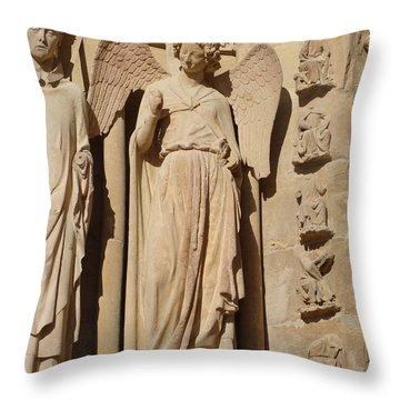 Angel In Reims Throw Pillow