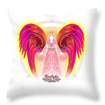 Throw Pillow featuring the digital art Angel Intentions Divine Timing by Barbara Tristan