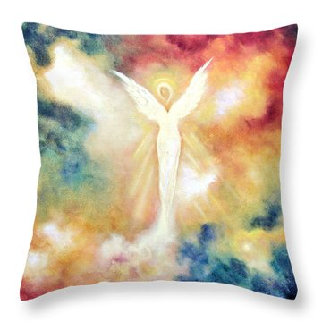 Angel Light Throw Pillow by Marina Petro