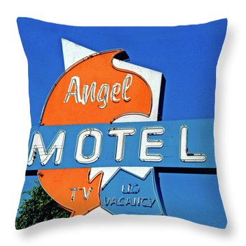 Throw Pillow featuring the photograph Angel Motel by Matthew Bamberg