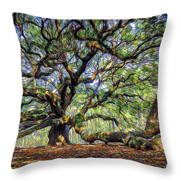 Angel Oak In Digital Oils Throw Pillow