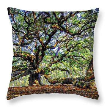 Angel Oak In Digital Oils Throw Pillow