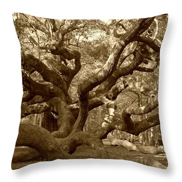 Angel Oak In Sepia Throw Pillow