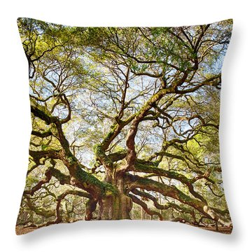 Angel Oak In Spring Throw Pillow