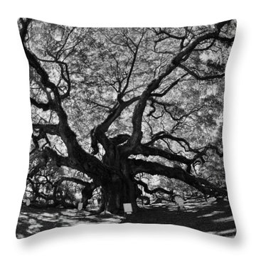 Angel Oak Johns Island Black And White Throw Pillow