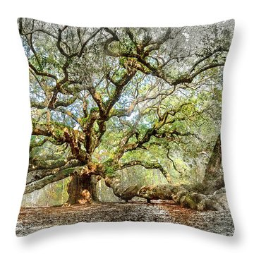 Angel Oak Mixed Media Throw Pillow