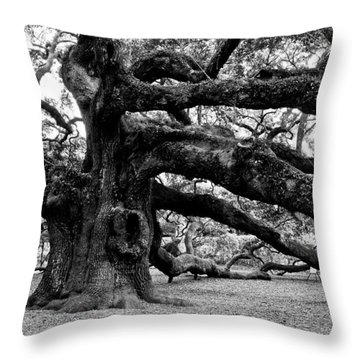 Throw Pillow featuring the photograph Angel Oak Tree 2009 Black And White by Louis Dallara