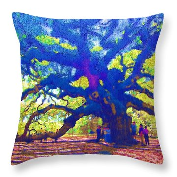 Throw Pillow featuring the photograph Angel Oak Tree by Donna Bentley
