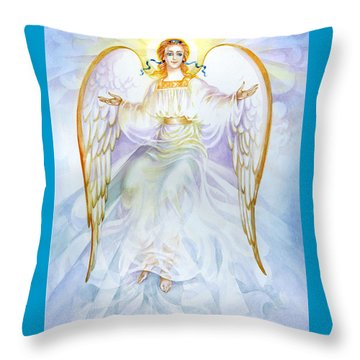Throw Pillow featuring the painting Angel Of Grace by Karen Showell