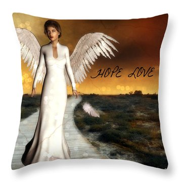Throw Pillow featuring the digital art Angel Of Hope - With Wording by Riana Van Staden
