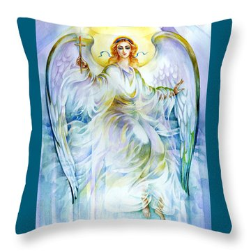 Throw Pillow featuring the painting Angel Of Love by Karen Showell