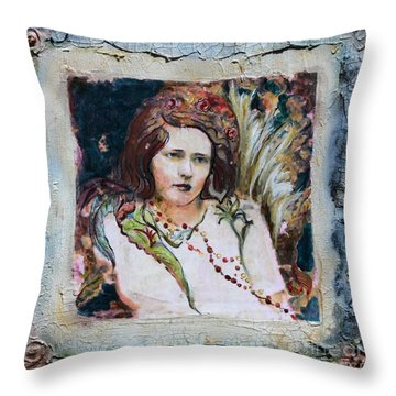 Angel Of The Roses Throw Pillow by Carrie Joy Byrnes
