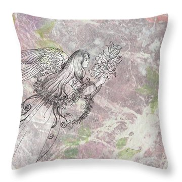 Angel On Pink And Green Florals Throw Pillow