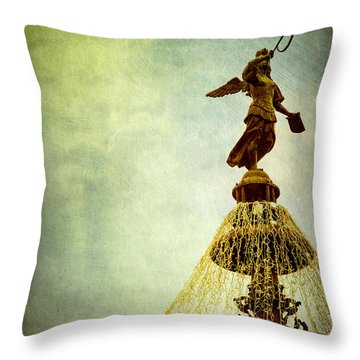 Angel On The Fountain Throw Pillow