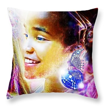 Angel Smile Throw Pillow by Hartmut Jager